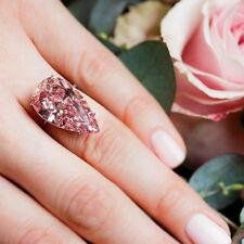Novelty Womens Silvering Pear Cut Ring Eternity Pink Sapphire Waterdrop Jewelry