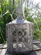 Antik Look Laterne Windlicht Creme Grau Used Vintage Landhaus Metall Deko