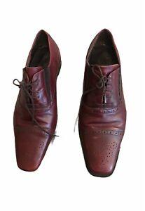 Donald J Pliner Mens Red Burgundy Italian Captoe Square Toe Oxfords Shoes 12 45