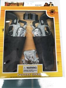 Kids Western Cowboy Pistol & Holster Play Set w/ Badge, Belt (blk)