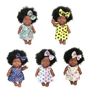 Lovely Lifelike Vinyl Baby Doll African Girl Newborn Doll With Explosive Hair