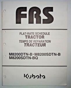 Kubota M8200DTN-B M8200SDTN-B M8200SDTN-BQ Tractor Repair Time Flat Rate Manual