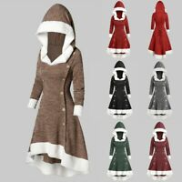 Goth Women  Medieval Vintage Witch Hooded Dress Button Long Top Cosplay Costume