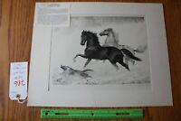 George Ford Morris Signed Lithograph Snow Frolic Horses and Dog running