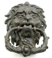 Large  CAST IRON- Heavy Lion Head  Door Knocker Brown Gold Rustic Finish