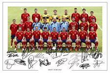 España Euro 2012 Squad autógrafo firmado foto impresión Cartel Autografos De Fútbol