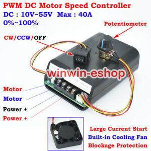 40A PWM Motor Speed Controller Switch DC12V 24V 36V 48V CW CCW Reversible Switch