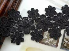 Black Venise Lace with Flower Petals Embroidery Applique Venice Bridal Lace Trim