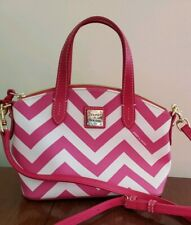 Dooney & Bourke White/ Pink Ruby Handbag Chevron Print MSRP $158
