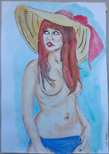 "Peinture dessin aquarelle erotique, nu féminin fine art ""hippie"" A4 21x 29,7"