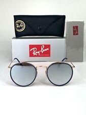 Ray-Ban Round Double Bridge RB3647 001/9U Gold Frame Silver Gradient Flash Lens