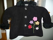 EUC Penelope Mack Toddler Baby Girl Black Fleece Lined Faux Fur Coat Jacket 18 M