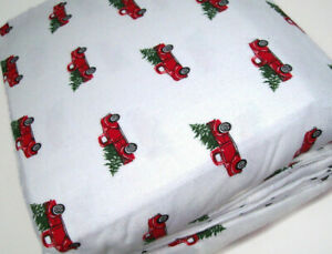 Flannel From Portugal Red Truck Christmas Tree Cotton Full Sheet Set New