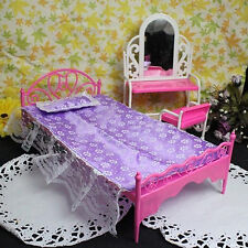 EP_ Plastic Miniatures Bedroom Furniture Single Bed for Barbie Dolls Dollhouse G