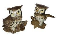 Vintage Set Of Homco Home Interiors Owl Figurines 1114 Barn Owls MCM Brown Decor