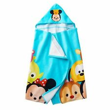 "Disney Tsum Tsum Hooded Bath Towel Blue Tsum Tsum Character Stacks 25"" x 50"" NEW"