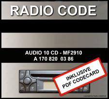 █►Radio Code passend für Mercedes Alpine AUDIO 10 CD MF2910 - AL2910 UNLOCK KEY