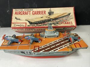 "AIRCRAFT CARRIER W/3 PLANES 8.75"" JAPANESE TIN FRICTION BOAT CRAGSTAN WITH BOX"