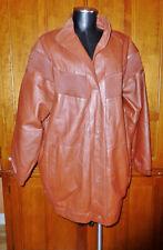 Vintage VTG 80s 90s Cognac Genuine 100% LEATHER Oversized Cocoon Jacket Coat