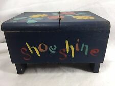 Vintage Jerywill Hand painted Shoe Shine Box Blue FLoral 21286 Wooden Wood