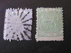 FIJI, SCOTT # 40/41(2), 1p+2p. VALUES ULTRA & GREEN 1878-90 CROWN/VR ISSUE USED