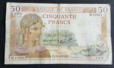 FRANCE - FRANCIA - FRENCH NOTE - BILLET DE 50 FRANCS CERES 22/6/1939.