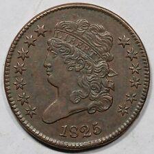 1825 C-1 R-3 Classic Head Half Cent Coin 1/2c Ex; Demling