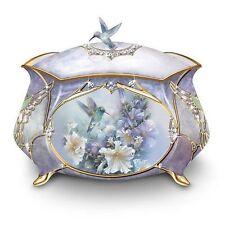 Porcelain Musical Trinket Box Floral Jewlry Box Sculpture NEW