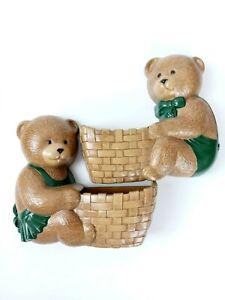 Burwood Products Nursery Decor Teddy Bear Wall Decor Planter Green Bow Tie Qty 2
