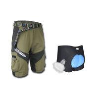 Army Green Men's Baggy Cycling Knicks Loose MTB Bike Shorts + Cycling Underwear