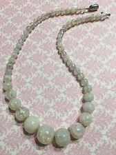 "Vg Czech Opal Crackle Art Glass Bead 16"" Necklace w/ Vaseline Glass Clasp-Estate"