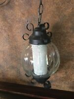 21338 Vintage Mid Century Hanging Light FIxture / Swag Lamp with bulb  diffuser