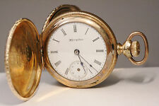 ANTIQUE HAMPDEN POCKET WATCH ! 14K GOLD PLATED ! TWO PLATES ! NO RESERVE !