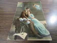 ORIGINAL ANTIQUE - A LOVING GREETING  - VICTORIAN COUPLE  - POST CARD - 1914