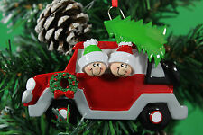 PERSONALISED CHRISTMAS TREE DECORATION ORNAMENT  CAR   FAMILY OF 2