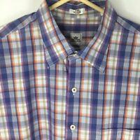 Peter Millar Weekender Wash Mens Shirt Long Sleeve Purple Plaid Size L Large