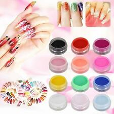 12 Mix Couleurs Acrylique DIY Nails Art Gel UV Tips Poudre Dust 3D Décoration AH