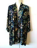 WOMEN'S CHICO'S TRAVELERS ABSTRACT FLORAL OPEN FRONT SLINKY CARDIGAN JACKET 3
