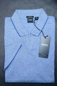 Hugo Boss Men Plato Slim Fit Med Blue Business Casual Cotton Linen Polo Shirt XL