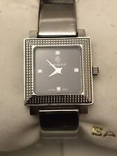 Sandoz Black Diamond Dial/Stainless Steel Quartz Ladies Watch
