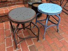 "2 Vtg TOLEDO Metal Adjusting Stools 18""To 24"" -Need adjusting Springs -Very Good"