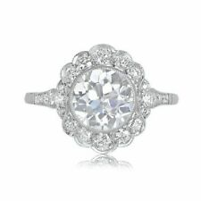 Sparkly Brilliant-cut White Round CZ 925 Sterling Silver Halo Vintage Style Ring
