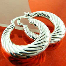Ladies Italian Design Hoop Drop Earrings Fsa541 Genuine 925 Sterling Silver S/F
