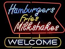"""New HAMBURGER FRIES MILKSHAKES WELCOME Beer Logo Neon Sign 32"""""""