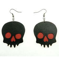 Boucles d'oreilles gothique rock soirée imitation cuir rouge noires tête de mort