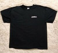 Activision Men's Size XL Black Staff Tee Shirt T Spell Out Logo Extra Large