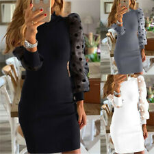 Women Polka Dot Mini Jumper Dress Dresses Sundress Long Sleeve Fitted Size 6-18