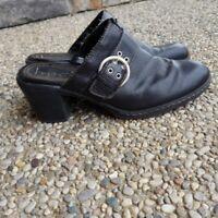 Born B.O.C Black Leather Upper Slip On Heels Size 9