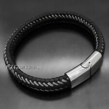 MEN 11MM Genuine Black Braided WIRE Leather Stainless Steel Clasp Bracelet 8.5""