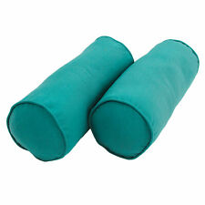 """20"""" 8""""Double-corded Solid Twill Bolster Pillows with Inserts (Set of 2) Aqua ..."""